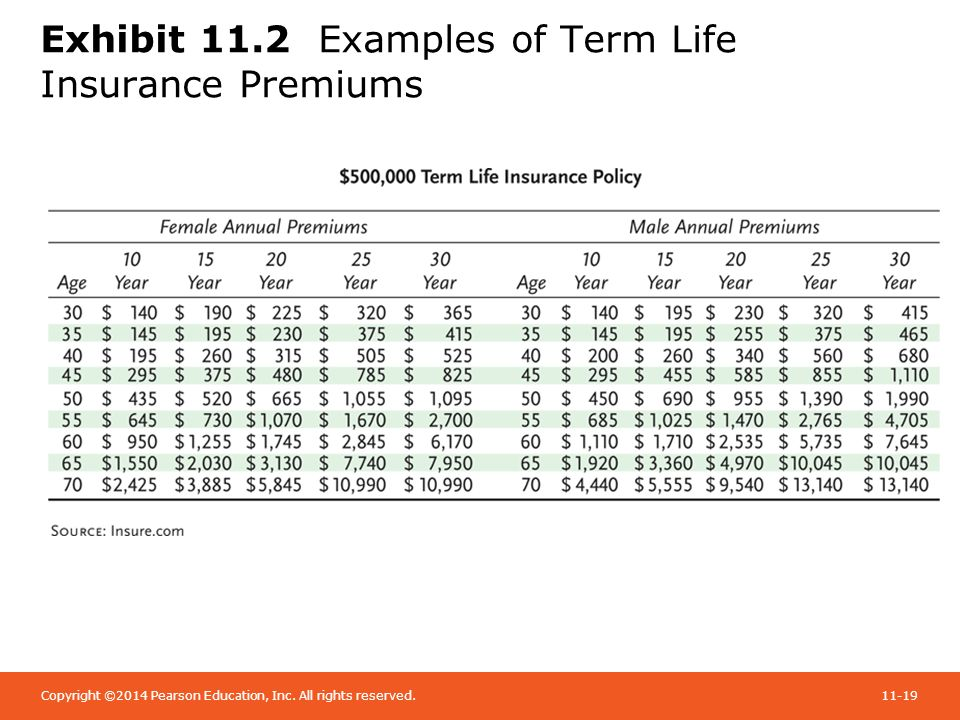 Chapter 11 life insurance ppt video online download 19 exhibit 112 examples of term life insurance premiums thecheapjerseys Gallery