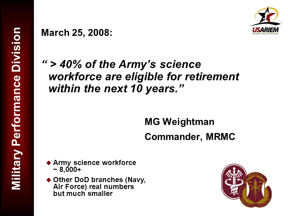 March 25, 2008: > 40% of the Army's science workforce are eligible for retirement within the next 10 years.