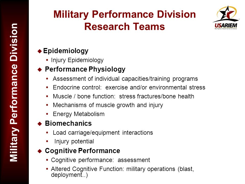 Military Performance Division Research Teams