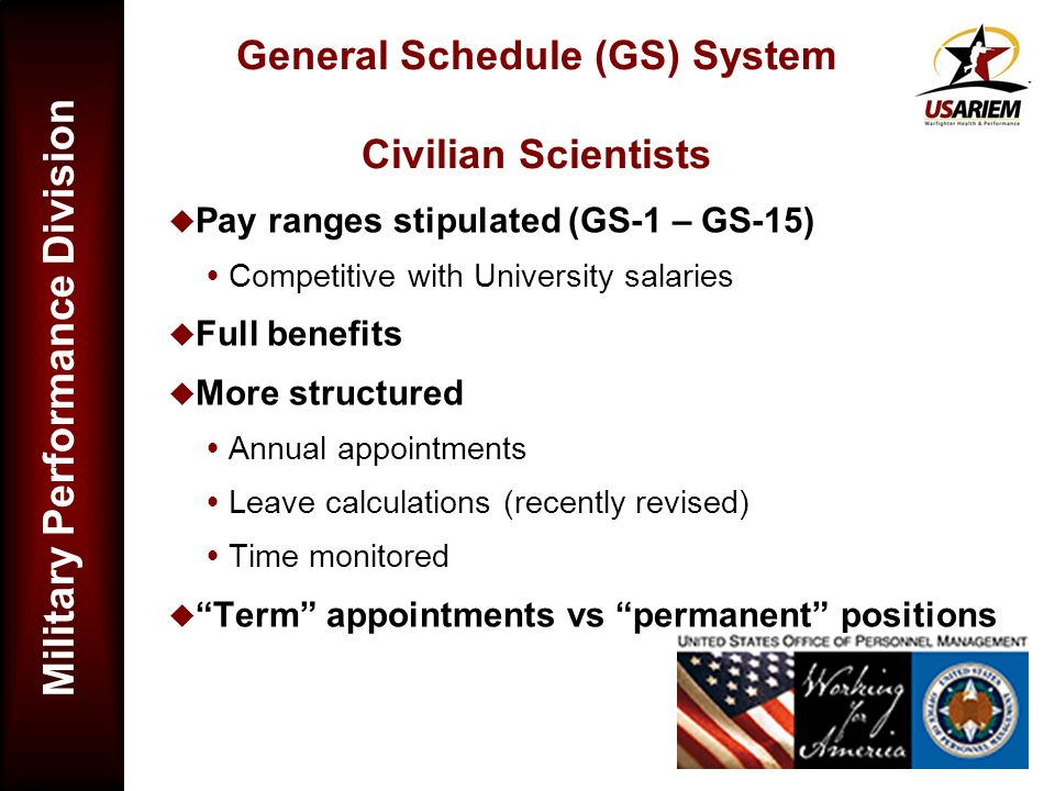 General Schedule (GS) System Civilian Scientists