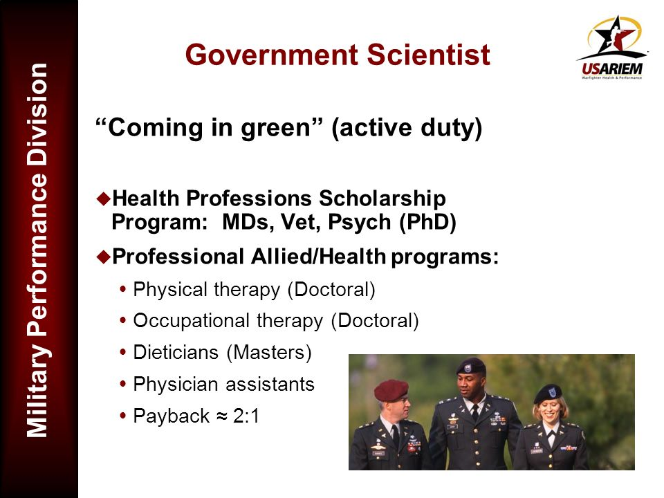 Government Scientist Coming in green (active duty)