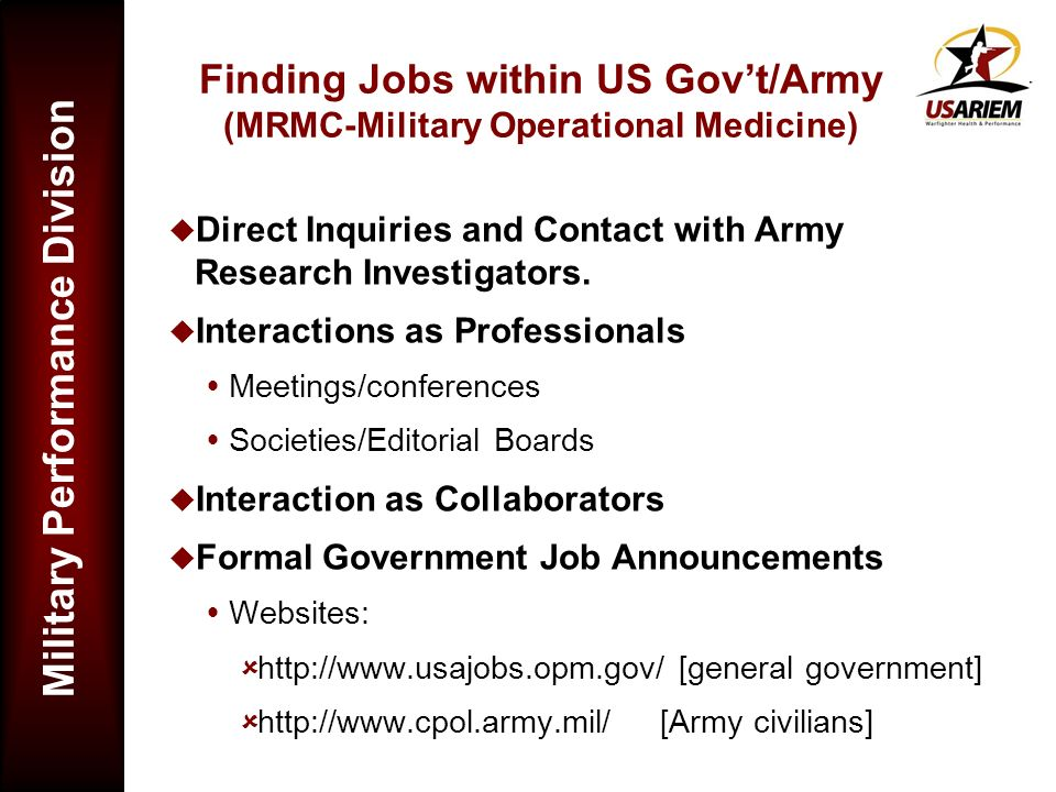 Finding Jobs within US Gov't/Army (MRMC-Military Operational Medicine)