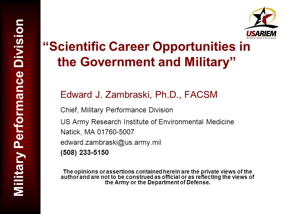 Scientific Career Opportunities in the Government and Military
