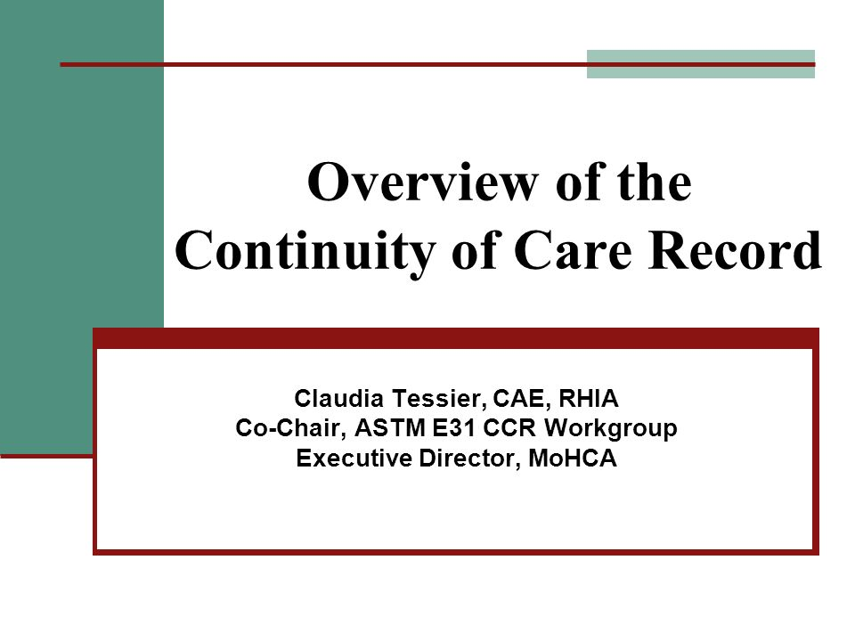 Overview of the Continuity of Care Record