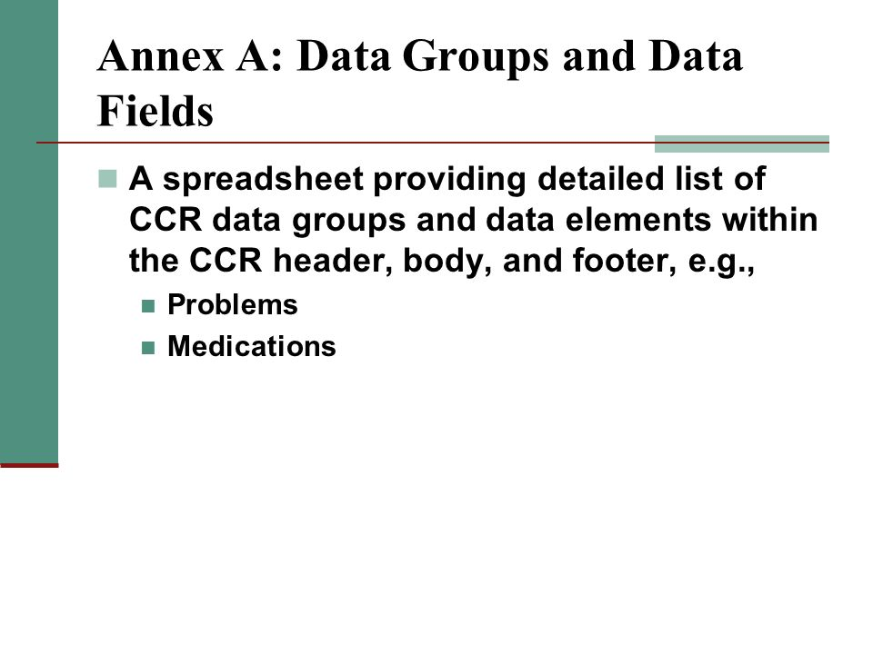 Annex A: Data Groups and Data Fields