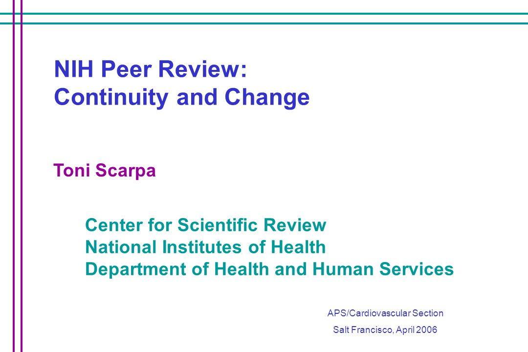 NIH Peer Review: Continuity and Change