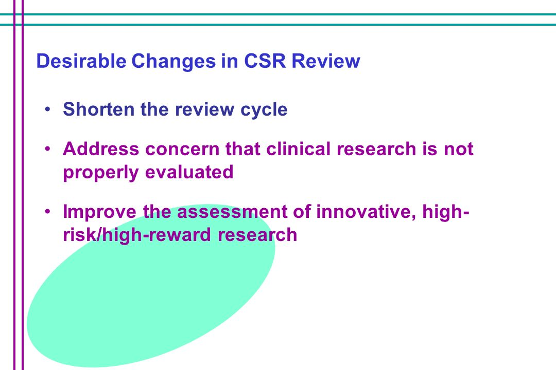 Desirable Changes in CSR Review