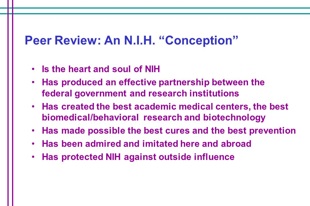 Peer Review: An N.I.H. Conception