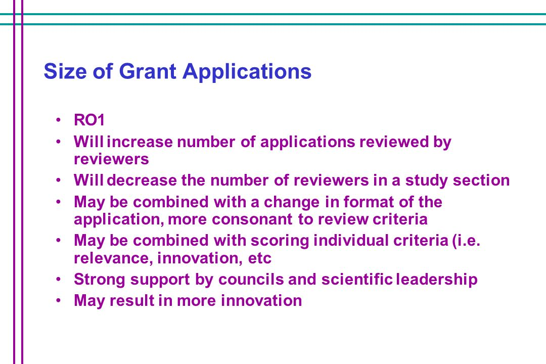 Size of Grant Applications