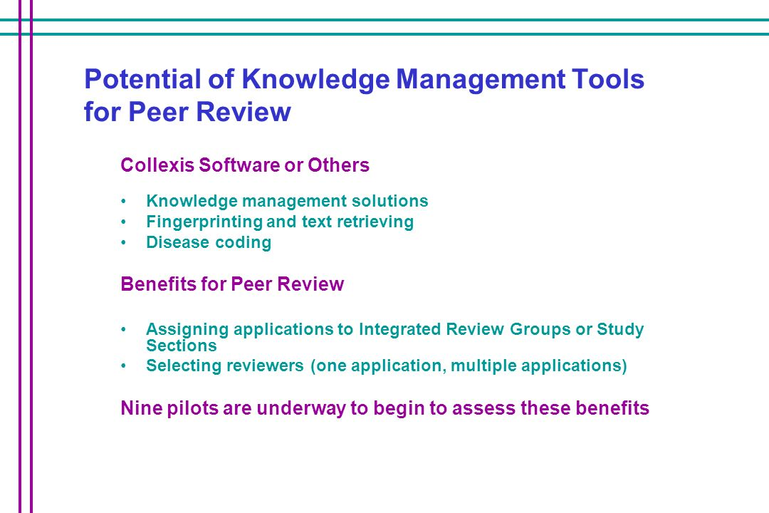 Potential of Knowledge Management Tools for Peer Review