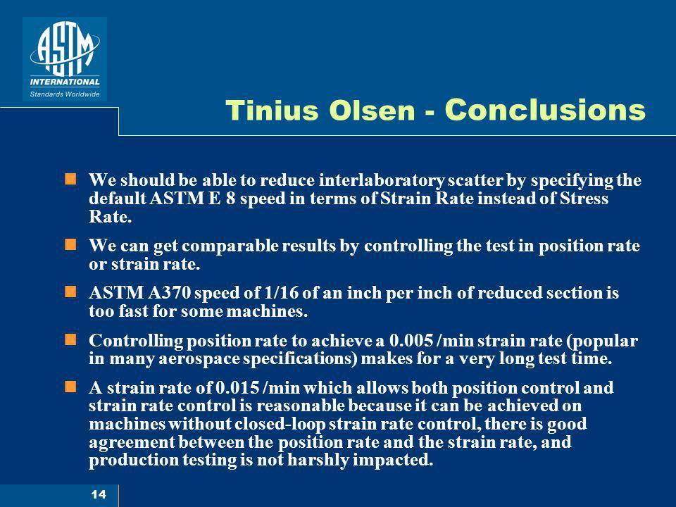 Tinius Olsen - Conclusions
