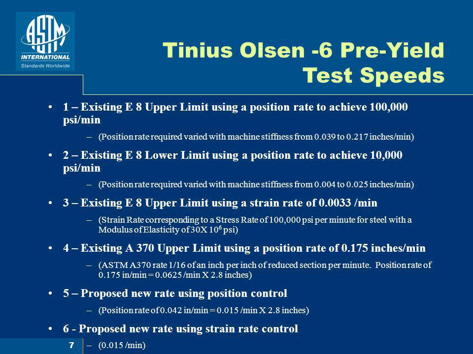 Tinius Olsen -6 Pre-Yield Test Speeds