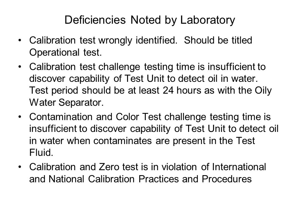 Deficiencies Noted by Laboratory