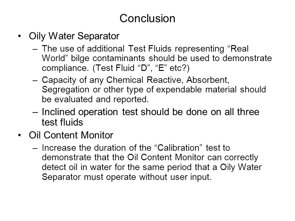 Conclusion Oily Water Separator