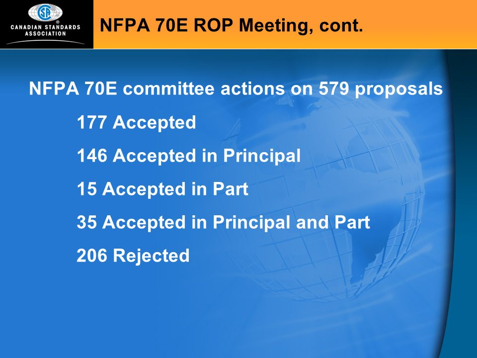 NFPA 70E committee actions on 579 proposals 177 Accepted