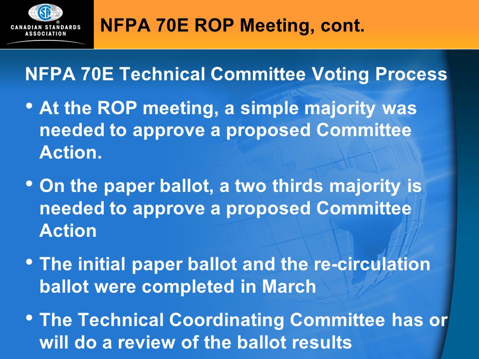 NFPA 70E Technical Committee Voting Process