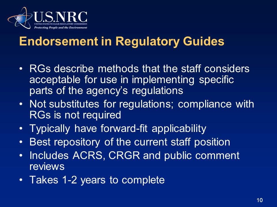 Endorsement in Regulatory Guides