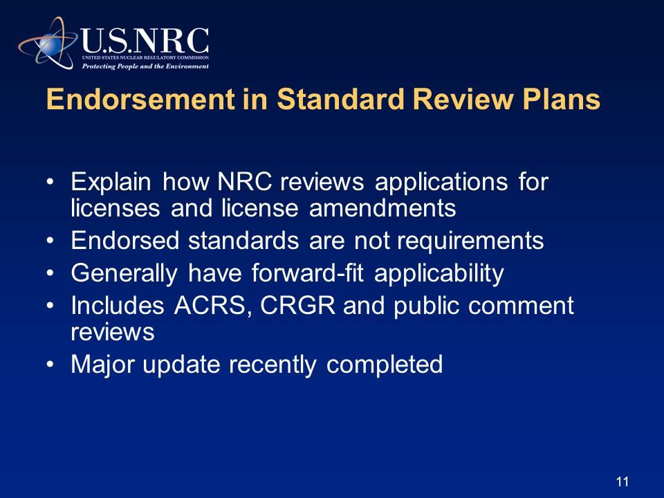 Endorsement in Standard Review Plans