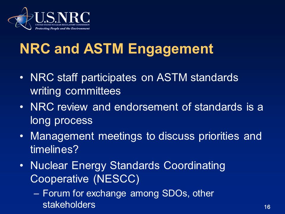 NRC and ASTM Engagement