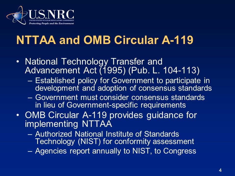 NTTAA and OMB Circular A-119