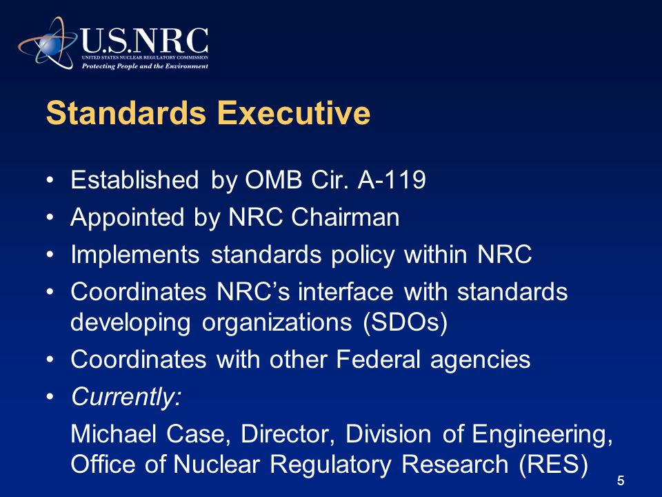 Standards Executive Established by OMB Cir. A-119