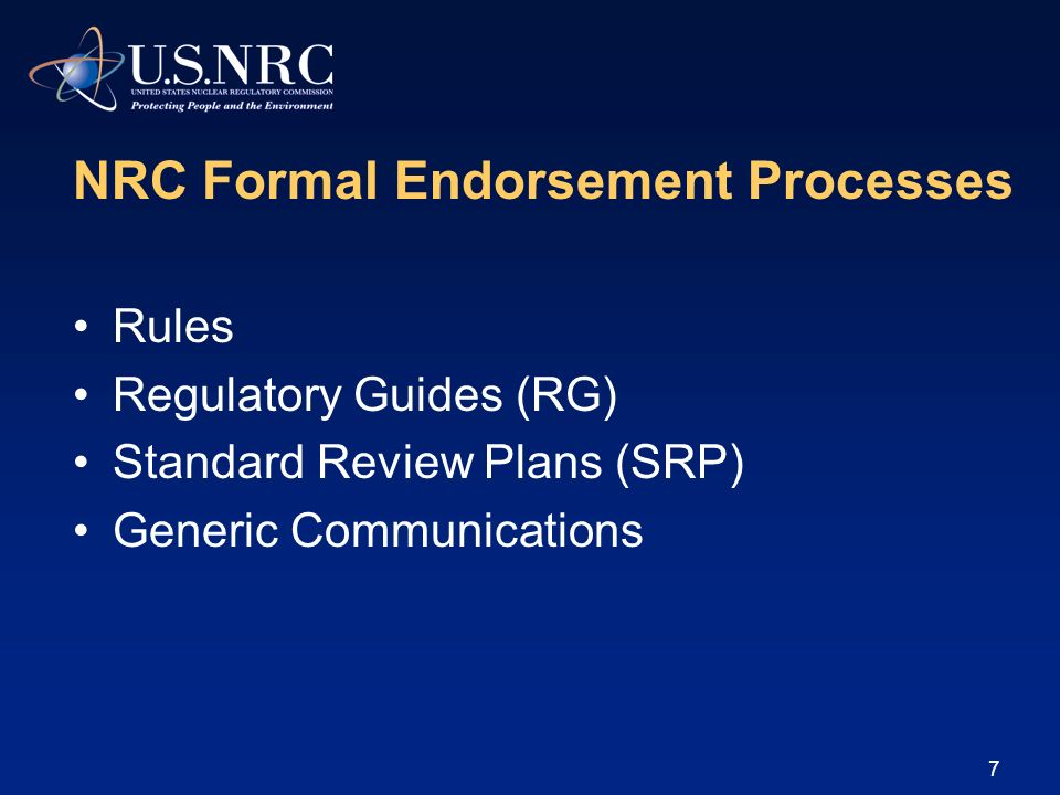 NRC Formal Endorsement Processes