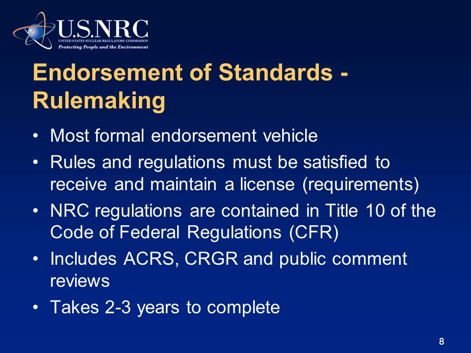 Endorsement of Standards - Rulemaking