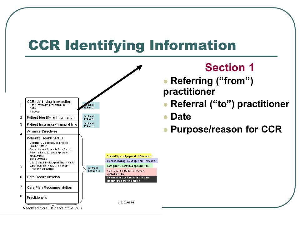 CCR Identifying Information