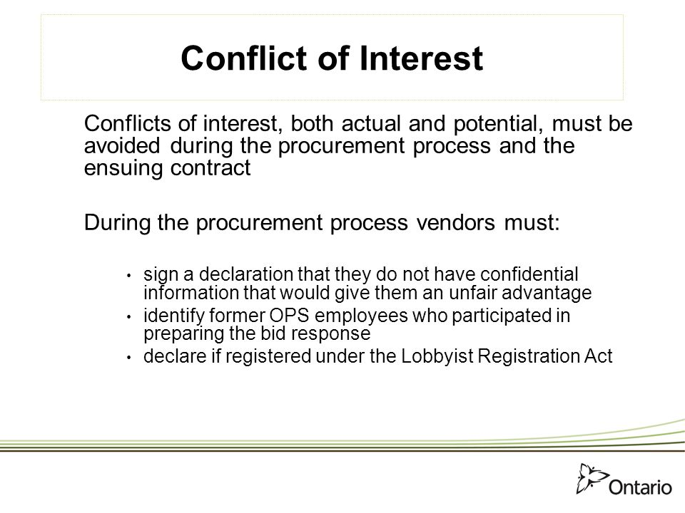 How to do business with the ontario government ppt download for Conflict of interest declaration template