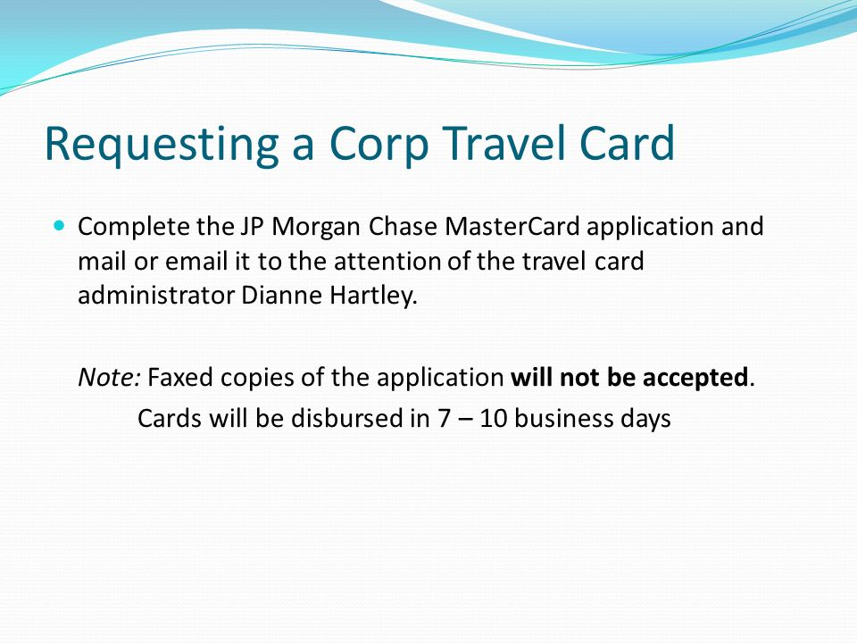 Requesting a Corp Travel Card