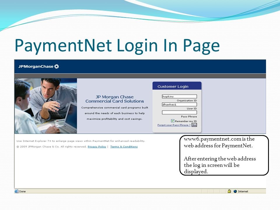 PaymentNet Login In Page