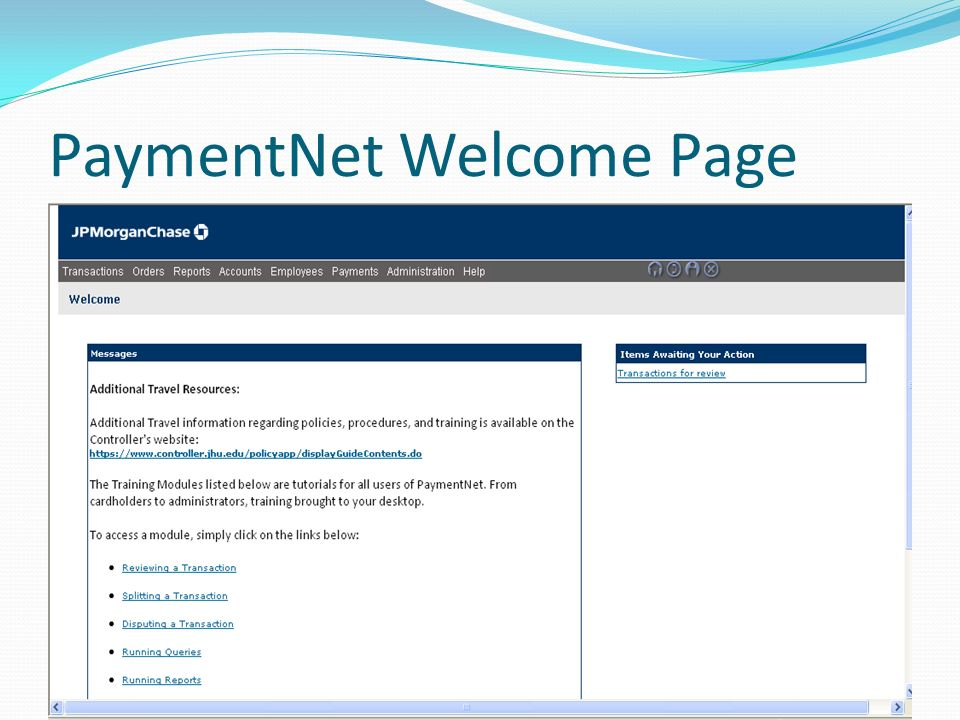 PaymentNet Welcome Page