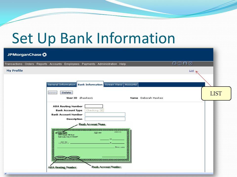 Set Up Bank Information