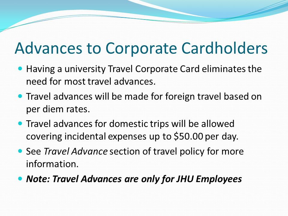 Advances to Corporate Cardholders