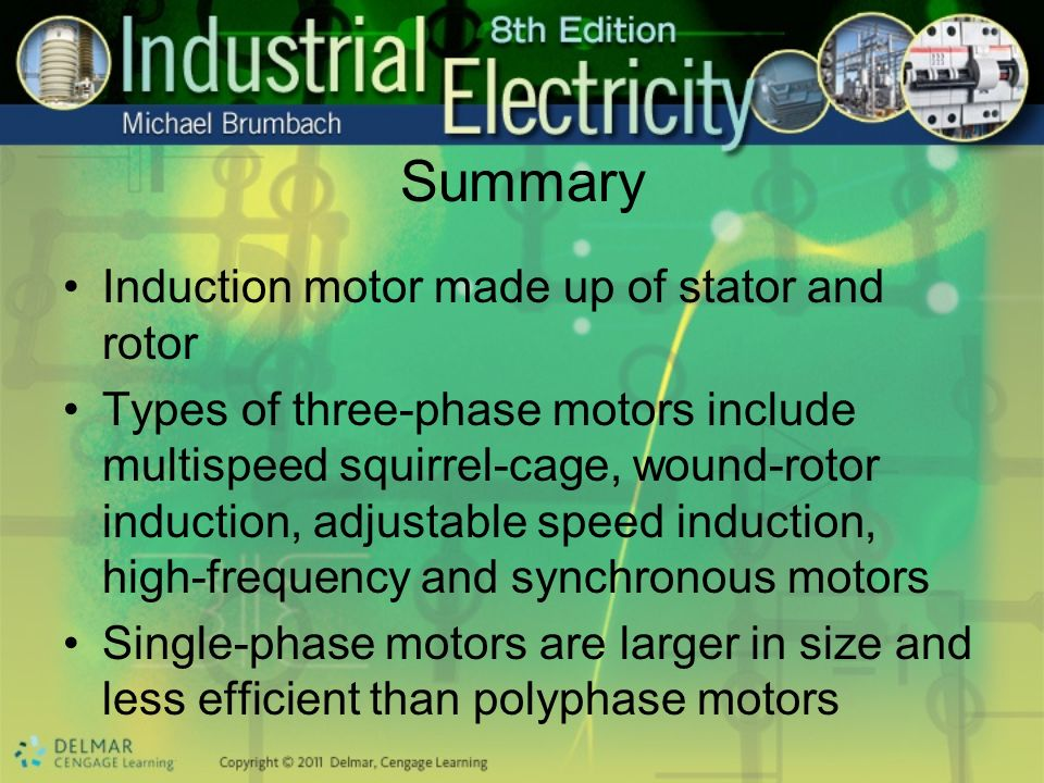 Summary Induction motor made up of stator and rotor