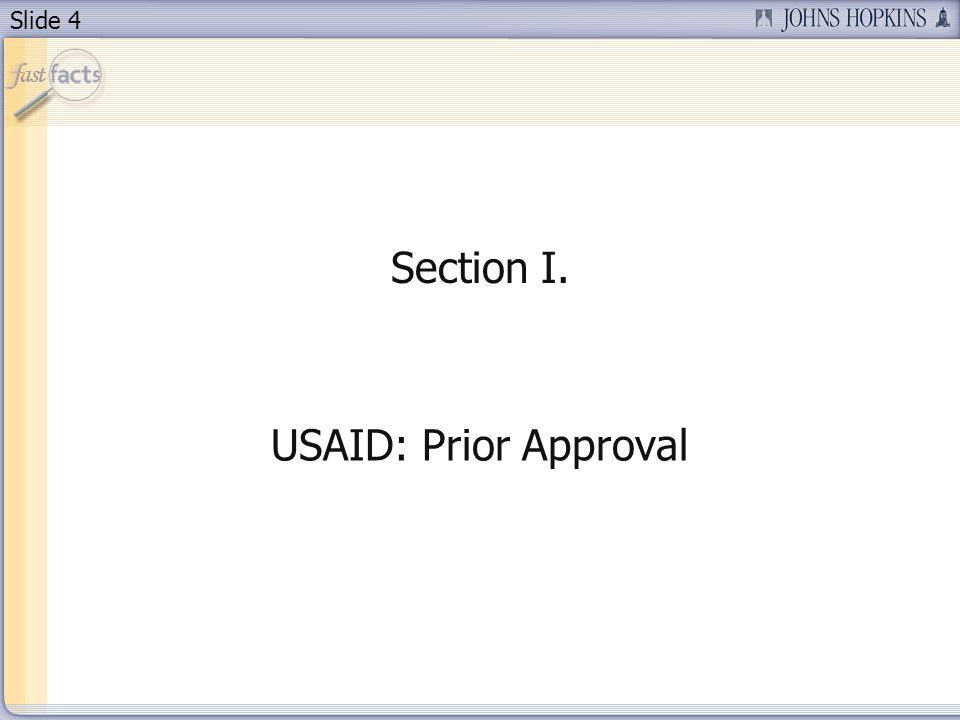 Section I. USAID: Prior Approval