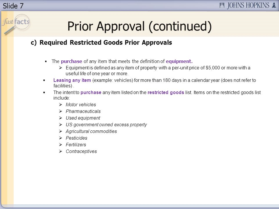 Prior Approval (continued)