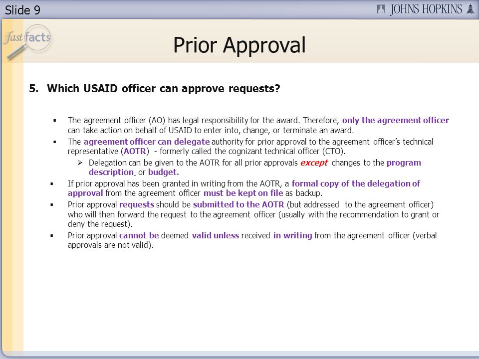 Prior Approval Which USAID officer can approve requests