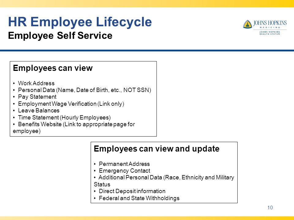 HR Employee Lifecycle Employee Self Service