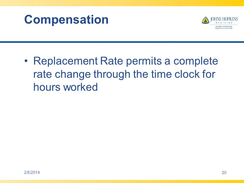 Compensation Replacement Rate permits a complete rate change through the time clock for hours worked.