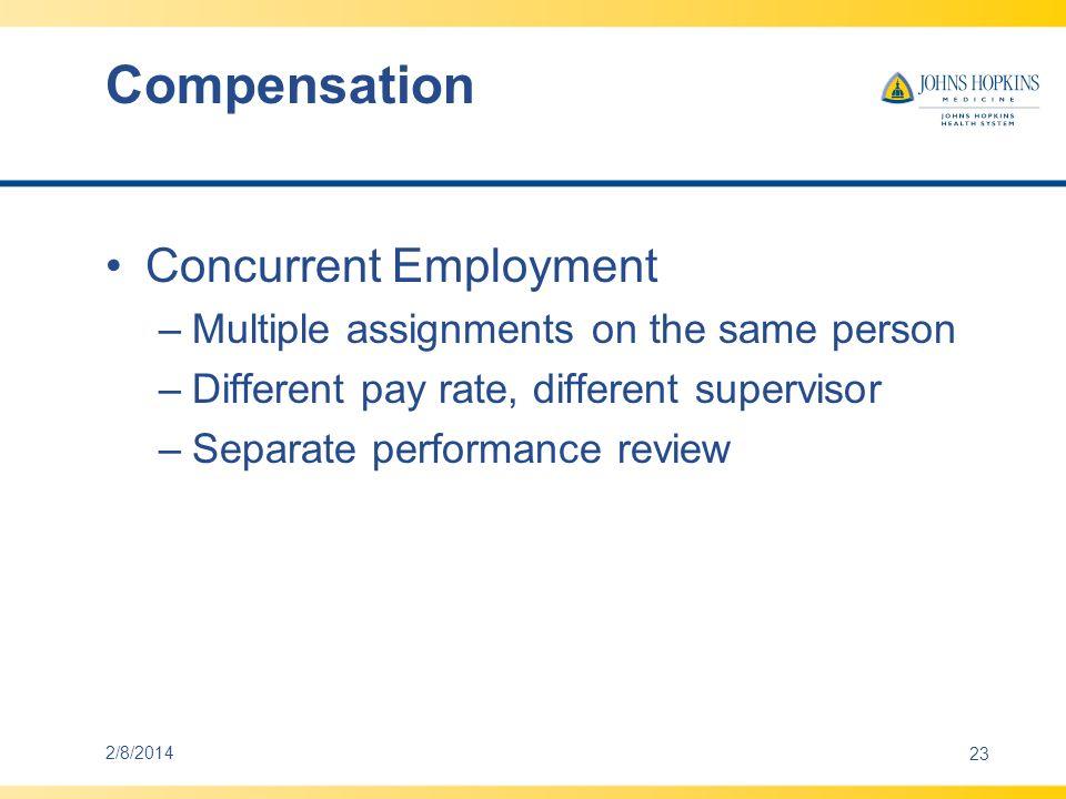 Compensation Concurrent Employment