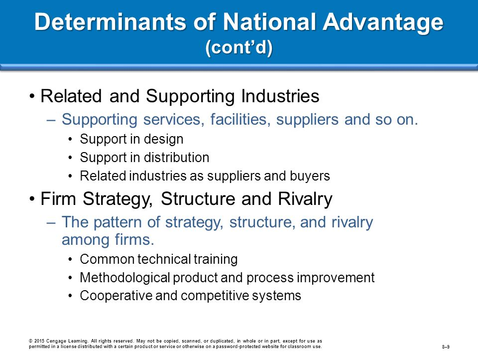 determinants of national advantage Resources and skills necessary for competitive advantage in an industry  small,  export-dependent nations where all determinants of national competitiveness.