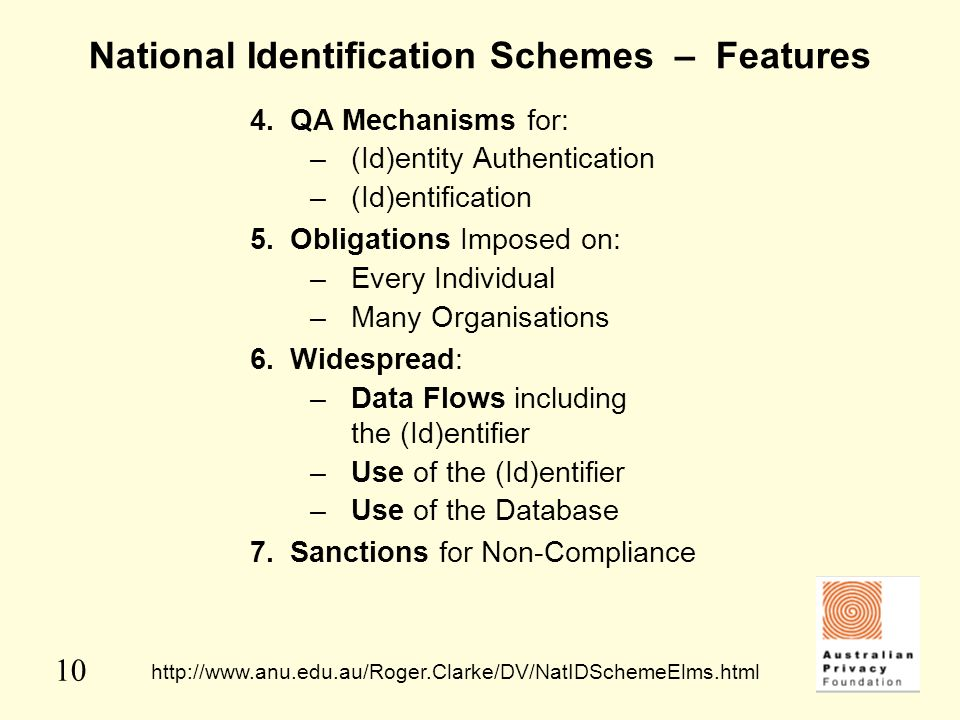 National Identification Schemes – Features