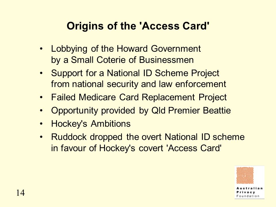 Origins of the Access Card