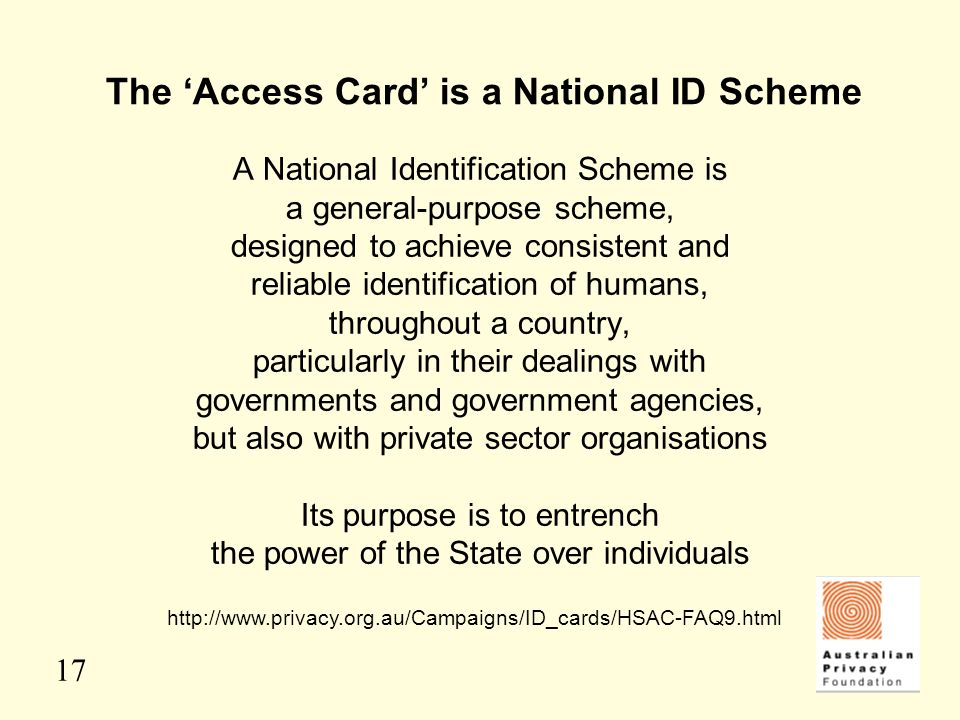 The 'Access Card' is a National ID Scheme