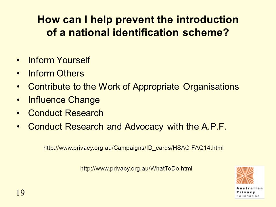 How can I help prevent the introduction of a national identification scheme