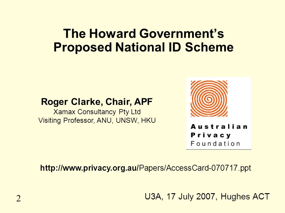 The Howard Government's Proposed National ID Scheme