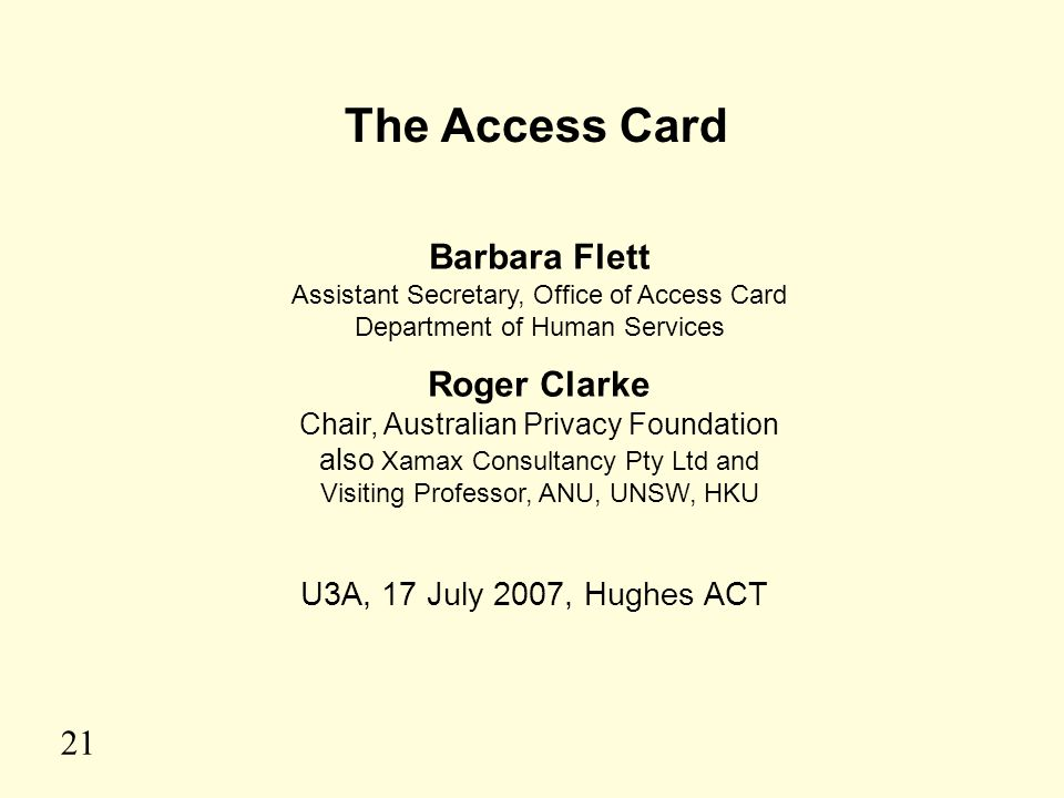 The Access Card Barbara Flett