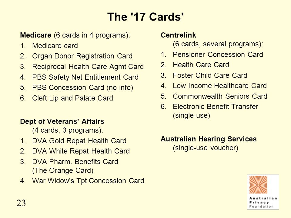 The 17 Cards Medicare (6 cards in 4 programs): 1. Medicare card