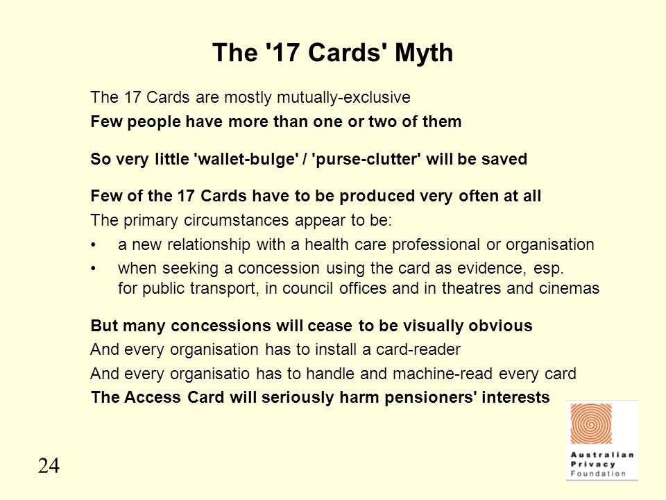 The 17 Cards Myth The 17 Cards are mostly mutually-exclusive
